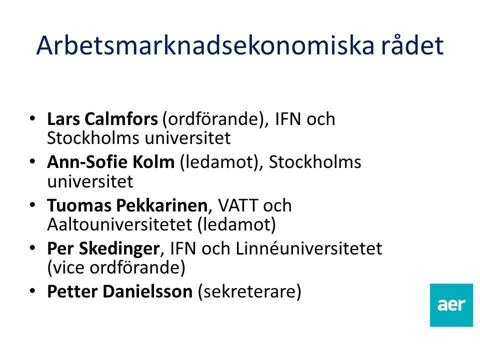Lars Calmfors (ordförande), IFN och Stockholms universitet Ann-Sofie Kolm (ledamot), Stockholms universitet Tuomas Pekkarinen, VATT och Aaltouniversit