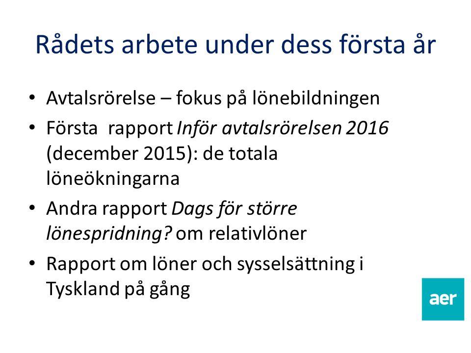 Rådets arbete under dess första år Avtalsrörelse – fokus på lönebildningen Första rapport Inför avtalsrörelsen 2016 (december 2015): de totala löneökn