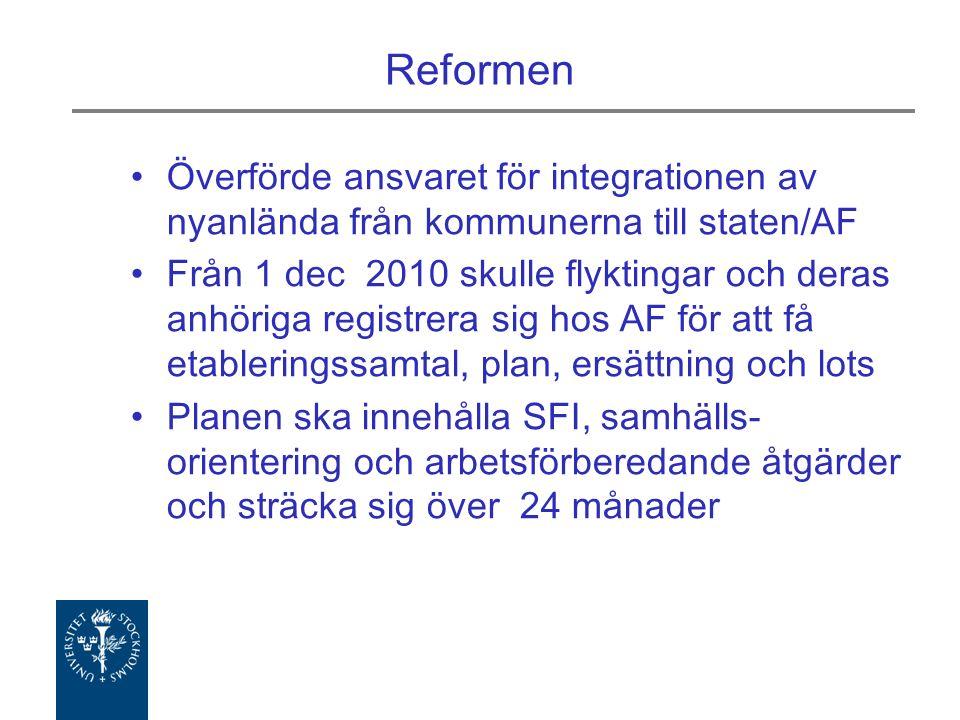 Reformen Överförde ansvaret för integrationen av nyanlända från kommunerna till staten/AF Från 1 dec 2010 skulle flyktingar och deras anhöriga registrera sig hos AF för att få etableringssamtal, plan, ersättning och lots Planen ska innehålla SFI, samhälls- orientering och arbetsförberedande åtgärder och sträcka sig över 24 månader