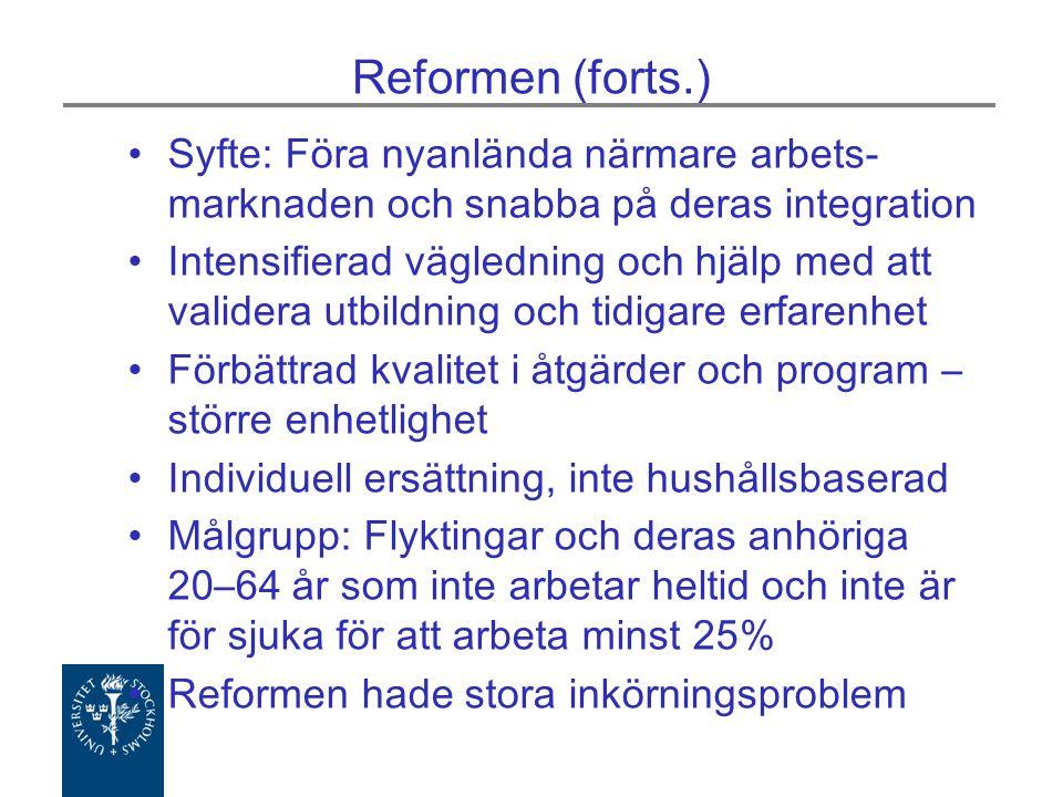 Reformen (forts.) Syfte: Föra nyanlända närmare arbets- marknaden och snabba på deras integration Intensifierad vägledning och hjälp med att validera utbildning och tidigare erfarenhet Förbättrad kvalitet i åtgärder och program – större enhetlighet Individuell ersättning, inte hushållsbaserad Målgrupp: Flyktingar och deras anhöriga 20–64 år som inte arbetar heltid och inte är för sjuka för att arbeta minst 25% Reformen hade stora inkörningsproblem
