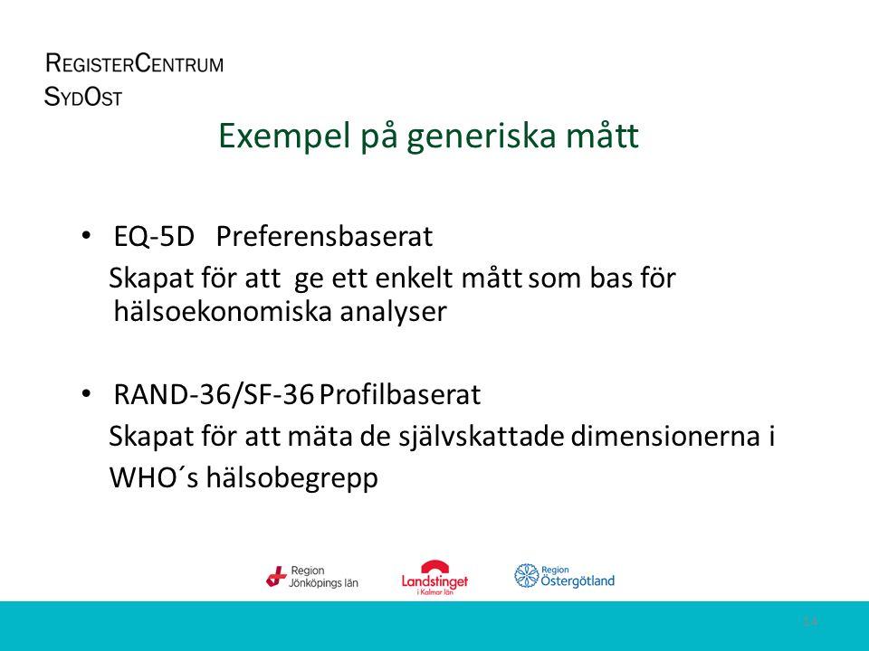 Exempel på generiska mått EQ-5D Preferensbaserat Skapat för att ge ett enkelt mått som bas för hälsoekonomiska analyser RAND-36/SF-36 Profilbaserat Skapat för att mäta de självskattade dimensionerna i WHO´s hälsobegrepp 14