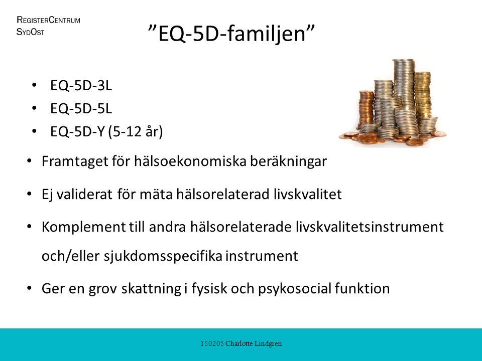 150205 Charlotte Lindgren EQ-5D-familjen EQ-5D-3L EQ-5D-5L EQ-5D-Y (5-12 år) Framtaget för hälsoekonomiska beräkningar Ej validerat för mäta hälsorelaterad livskvalitet Komplement till andra hälsorelaterade livskvalitetsinstrument och/eller sjukdomsspecifika instrument Ger en grov skattning i fysisk och psykosocial funktion