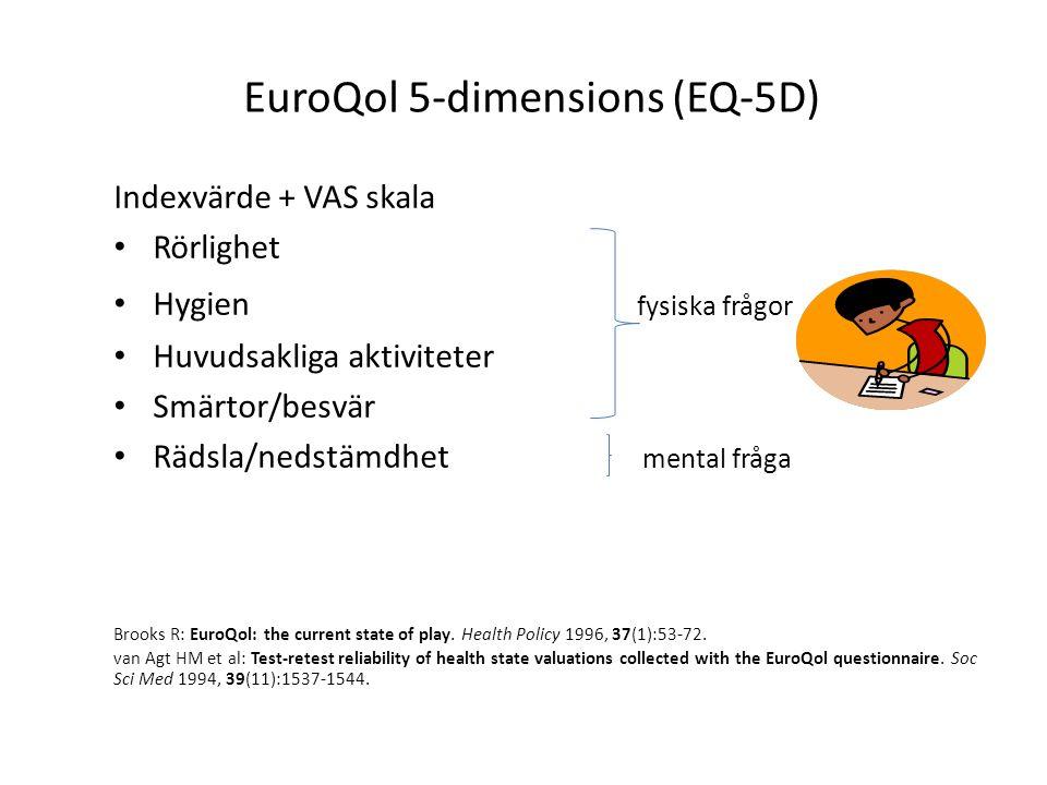 EuroQol 5-dimensions (EQ-5D) Indexvärde + VAS skala Rörlighet Hygien fysiska frågor Huvudsakliga aktiviteter Smärtor/besvär Rädsla/nedstämdhet mental fråga Brooks R: EuroQol: the current state of play.