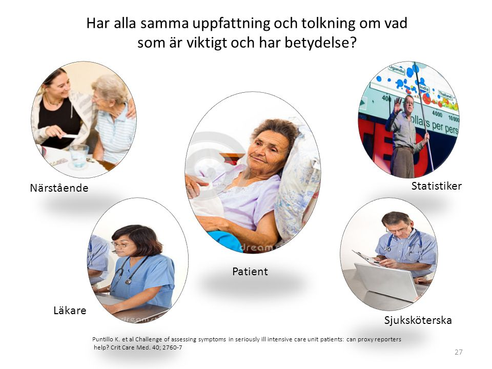 27 Patient Närstående Statistiker Sjuksköterska Läkare Puntillo K. et al Challenge of assessing symptoms in seriously ill intensive care unit patients