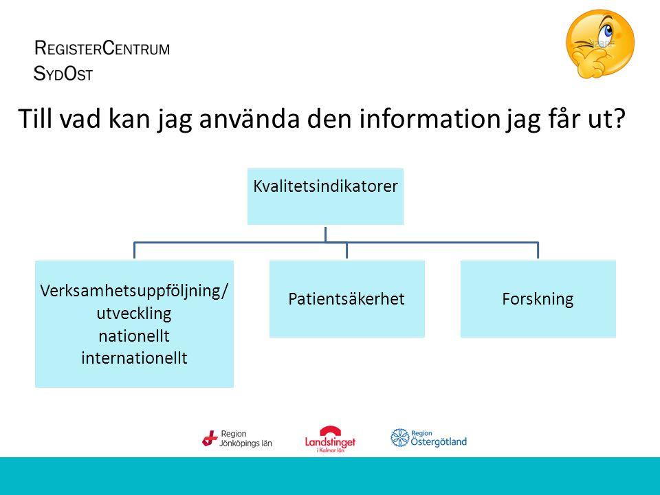 Till vad kan jag använda den information jag får ut? Kvalitetsindikatorer Verksamhetsuppföljning/ utveckling nationellt internationellt Patientsäkerhe