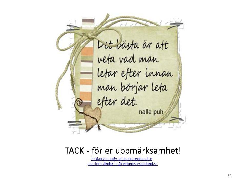 34 TACK - för er uppmärksamhet! lotti.orvelius@regionostergotland.se charlotte.lindgren@regionostergotland.se