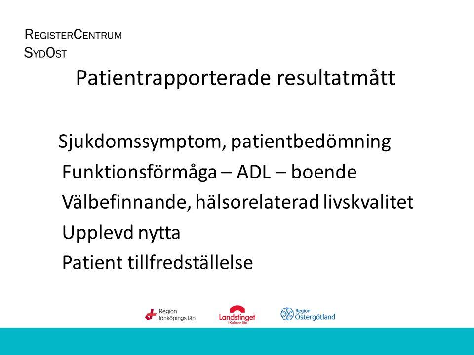 Patientrapporterade resultatmått Sjukdomssymptom, patientbedömning Funktionsförmåga – ADL – boende Välbefinnande, hälsorelaterad livskvalitet Upplevd nytta Patient tillfredställelse