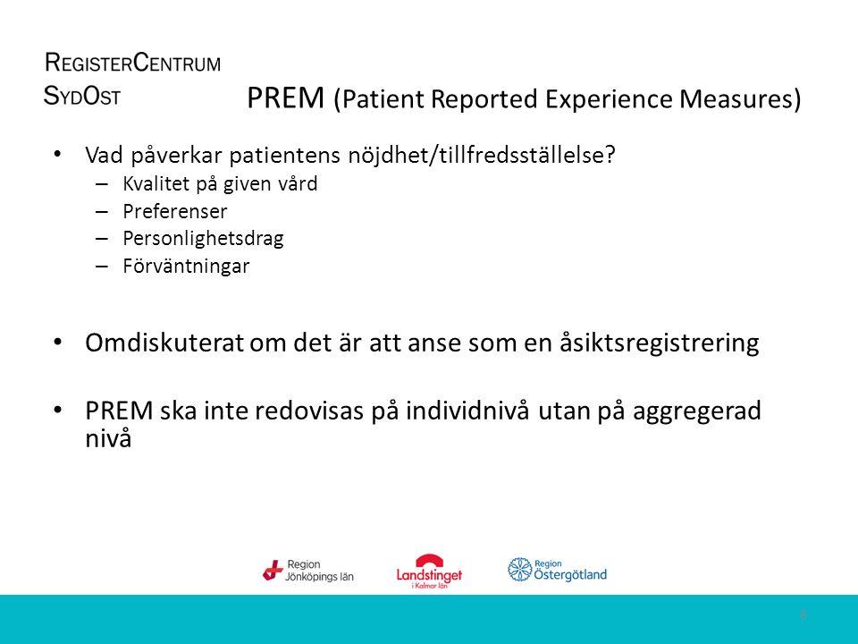 PREM Patienttillfredsställelse Patientupplevelser PREM Patienttillfredsställelse Patientupplevelser PROM Hälsorelaterad livskvalitet Symptom/funktion PROM Hälsorelaterad livskvalitet Symptom/funktion Struktur Process Resultat PREM och PROM 9