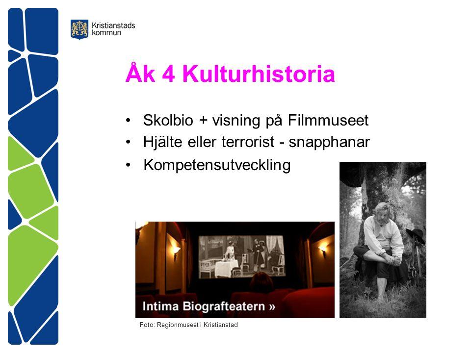 Åk 4 Kulturhistoria Skolbio + visning på Filmmuseet Hjälte eller terrorist - snapphanar Kompetensutveckling Foto: Regionmuseet i Kristianstad