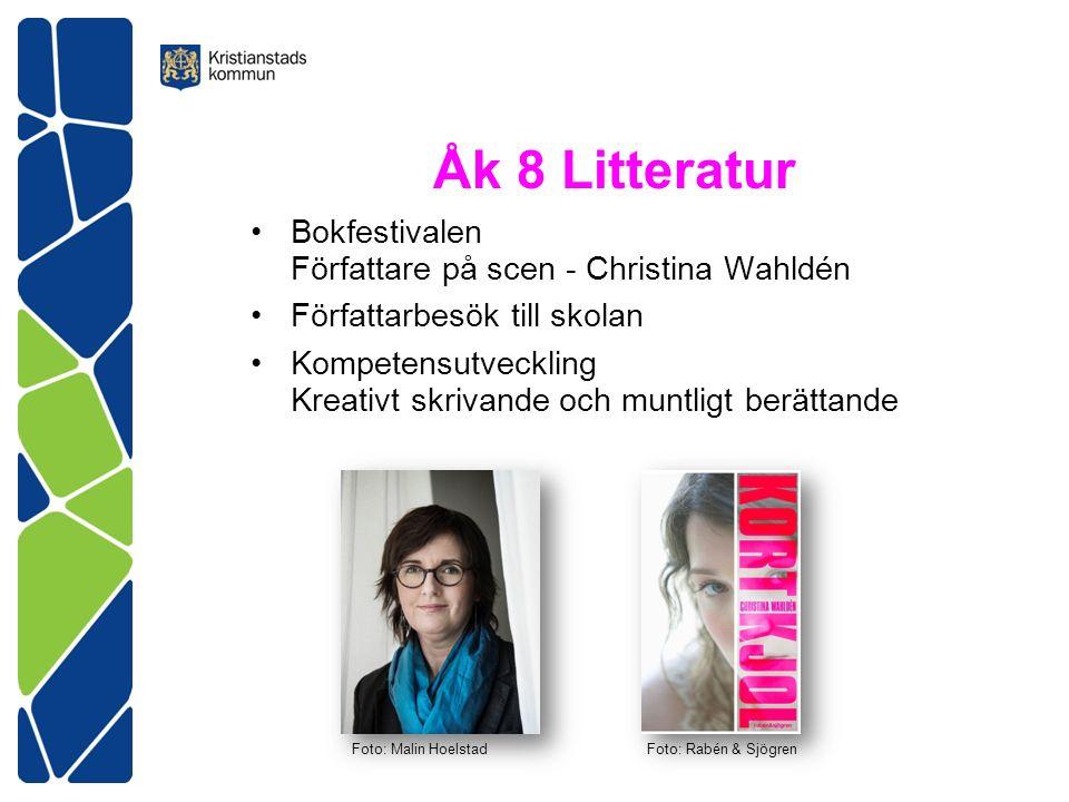 Åk 8 Litteratur Bokfestivalen Författare på scen - Christina Wahldén Författarbesök till skolan Kompetensutveckling Kreativt skrivande och muntligt berättande Foto: Malin HoelstadFoto: Rabén & Sjögren