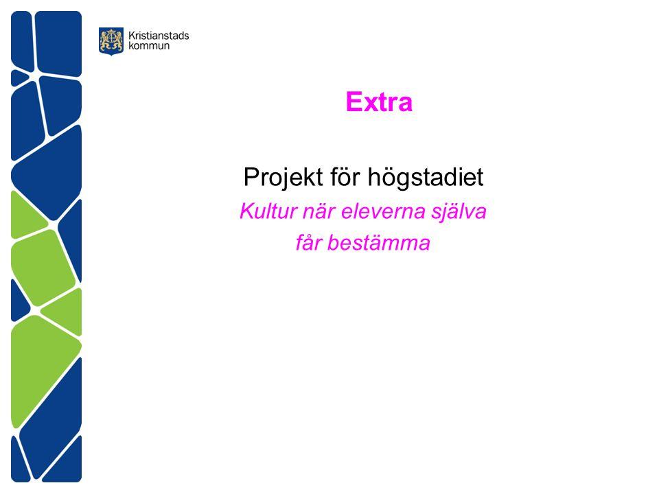 Extra Projekt för högstadiet Kultur när eleverna själva får bestämma