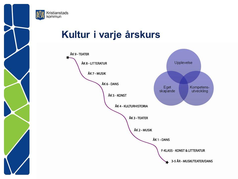 Kultur i varje årskurs Upplevelse Kompetens- utveckling Eget skapande