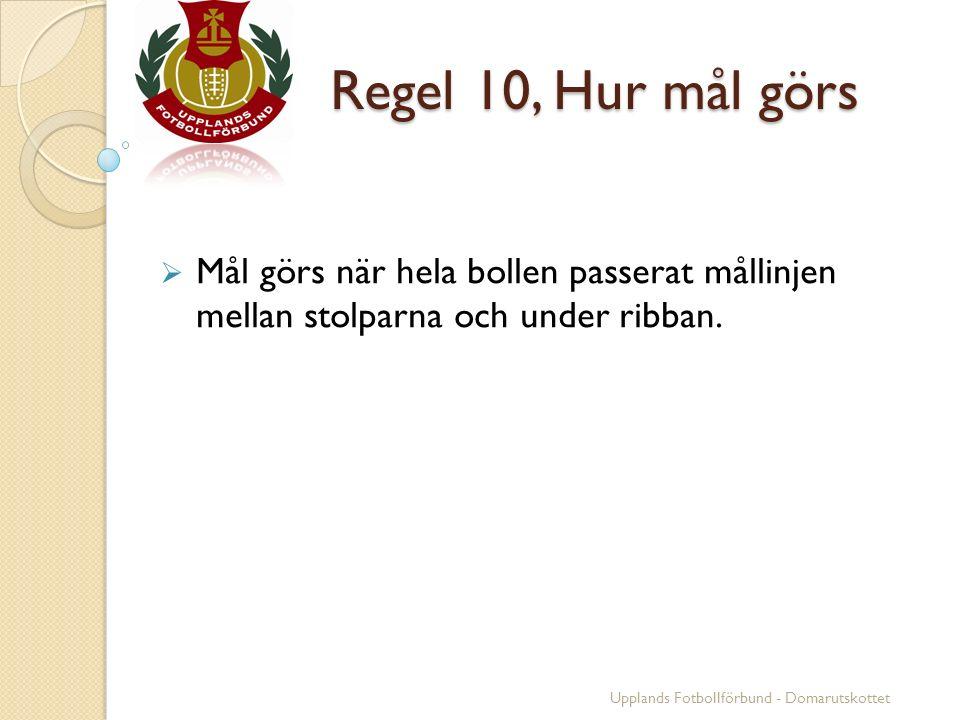 Regel 10, Hur mål görs Regel 10, Hur mål görs  Mål görs när hela bollen passerat mållinjen mellan stolparna och under ribban. Upplands Fotbollförbund