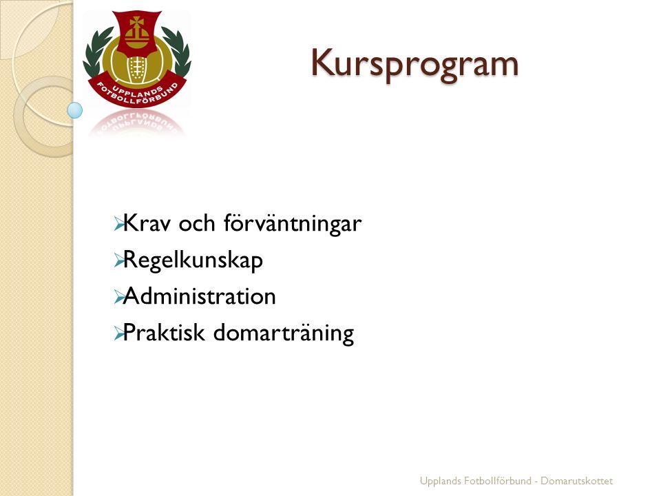 Kursprogram Kursprogram  Krav och förväntningar  Regelkunskap  Administration  Praktisk domarträning Upplands Fotbollförbund - Domarutskottet