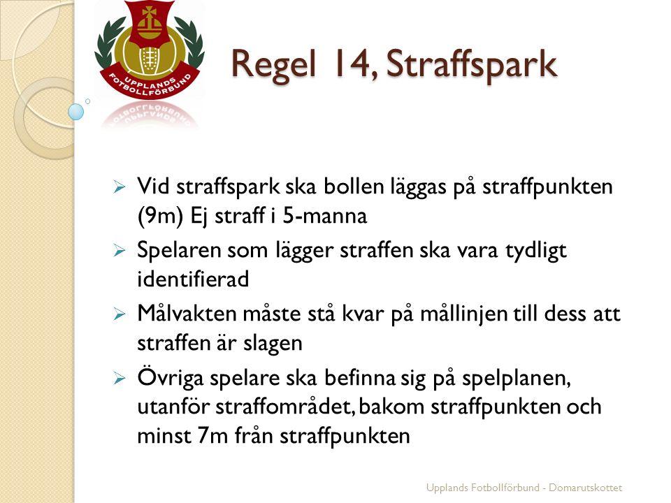 Regel 14, Straffspark Regel 14, Straffspark  Vid straffspark ska bollen läggas på straffpunkten (9m) Ej straff i 5-manna  Spelaren som lägger straff