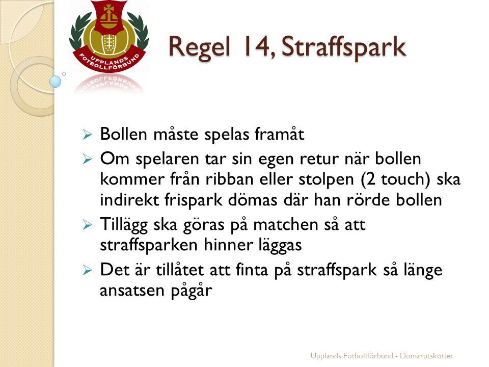 Regel 14, Straffspark Regel 14, Straffspark  Bollen måste spelas framåt  Om spelaren tar sin egen retur när bollen kommer från ribban eller stolpen