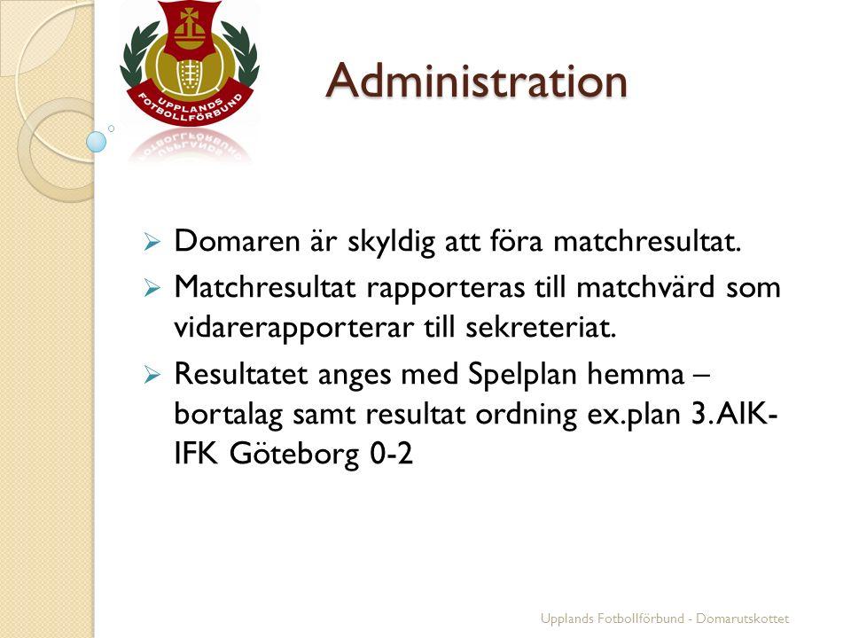 Administration  Domaren är skyldig att föra matchresultat.  Matchresultat rapporteras till matchvärd som vidarerapporterar till sekreteriat.  Resul