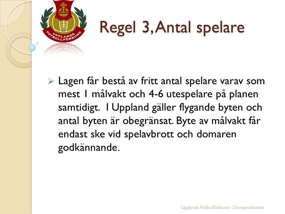 Regel 3, Antal spelare Regel 3, Antal spelare  Lagen får bestå av fritt antal spelare varav som mest 1 målvakt och 4-6 utespelare på planen samtidigt