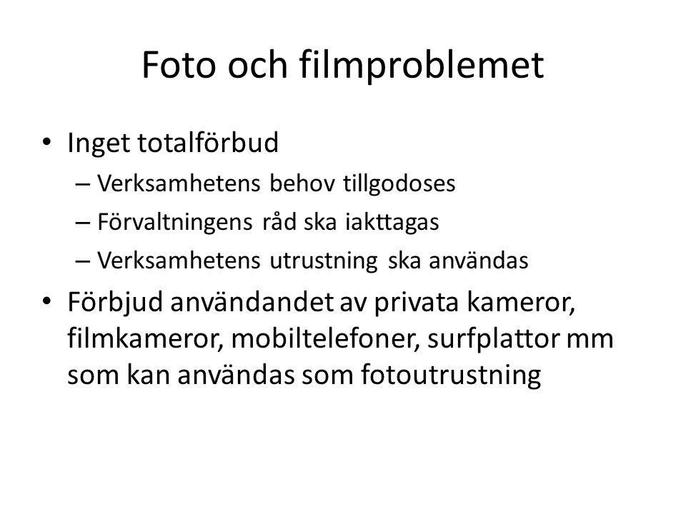 Foto och filmproblemet Inget totalförbud – Verksamhetens behov tillgodoses – Förvaltningens råd ska iakttagas – Verksamhetens utrustning ska användas Förbjud användandet av privata kameror, filmkameror, mobiltelefoner, surfplattor mm som kan användas som fotoutrustning