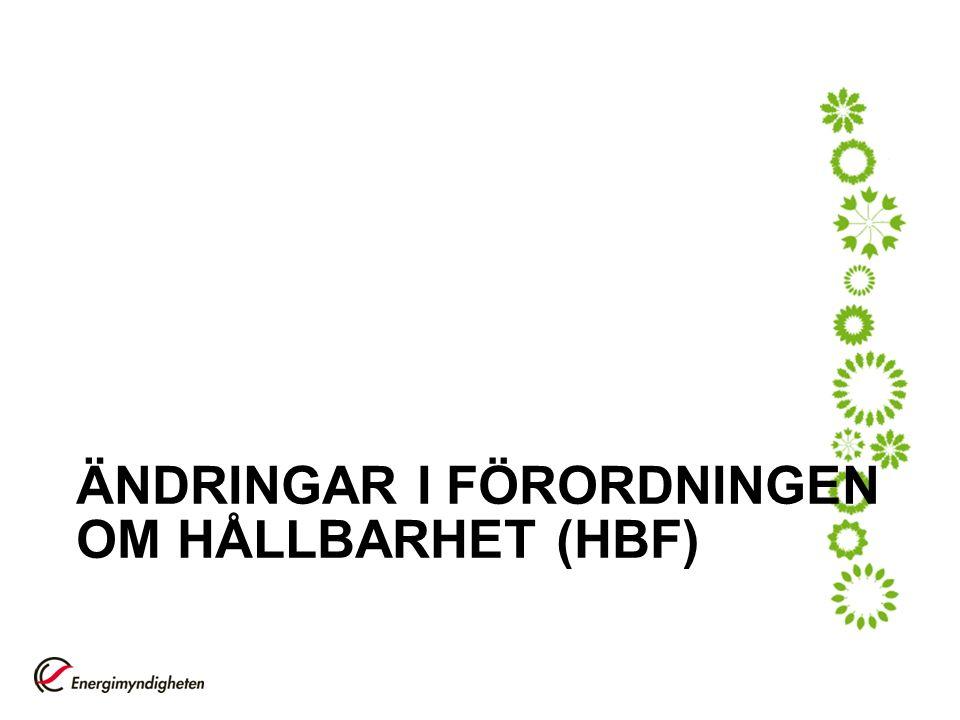 ÄNDRINGAR I FÖRORDNINGEN OM HÅLLBARHET (HBF)