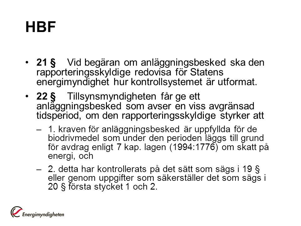 HBF 21 § Vid begäran om anläggningsbesked ska den rapporteringsskyldige redovisa för Statens energimyndighet hur kontrollsystemet är utformat.