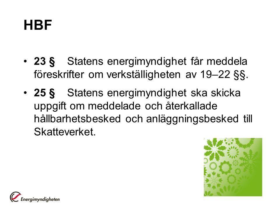 HBF 23 § Statens energimyndighet får meddela föreskrifter om verkställigheten av 19–22 §§.