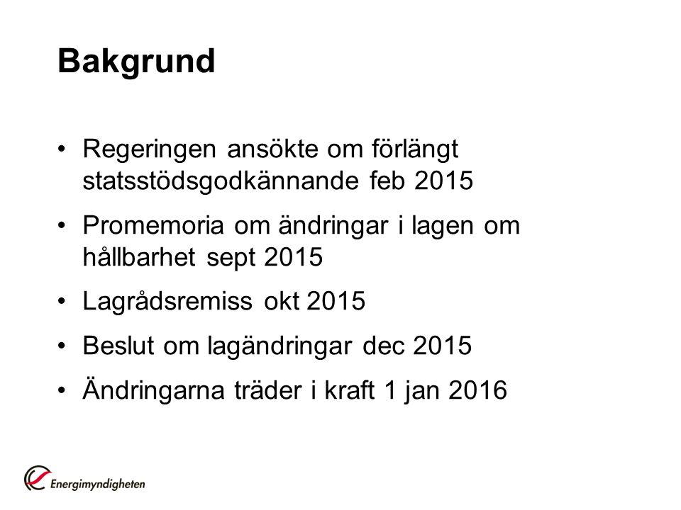 Bakgrund Regeringen ansökte om förlängt statsstödsgodkännande feb 2015 Promemoria om ändringar i lagen om hållbarhet sept 2015 Lagrådsremiss okt 2015 Beslut om lagändringar dec 2015 Ändringarna träder i kraft 1 jan 2016
