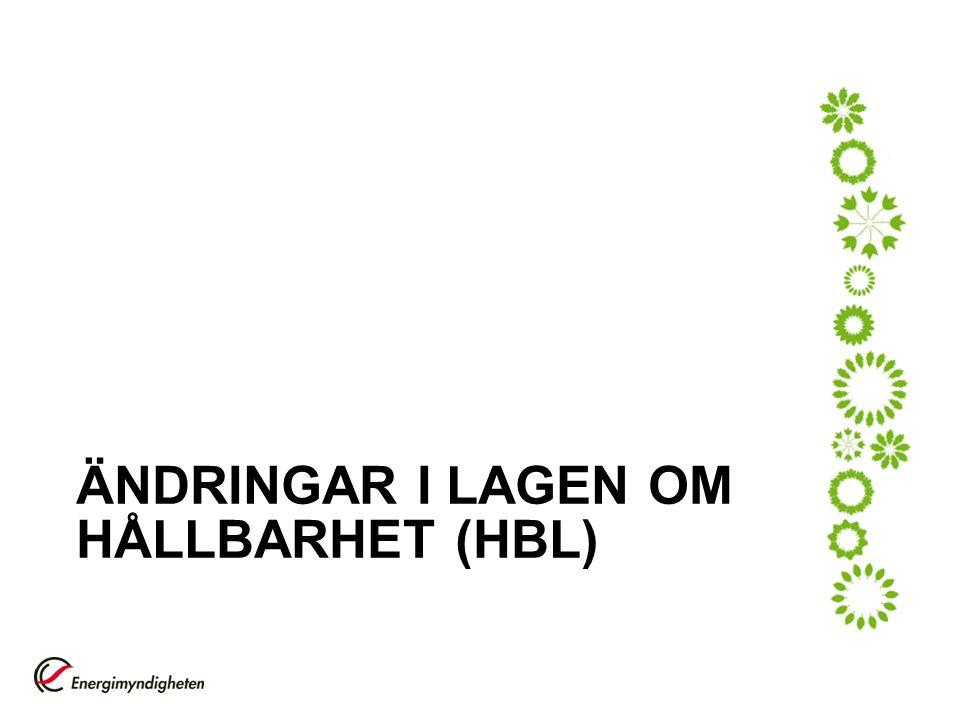ÄNDRINGAR I LAGEN OM HÅLLBARHET (HBL)