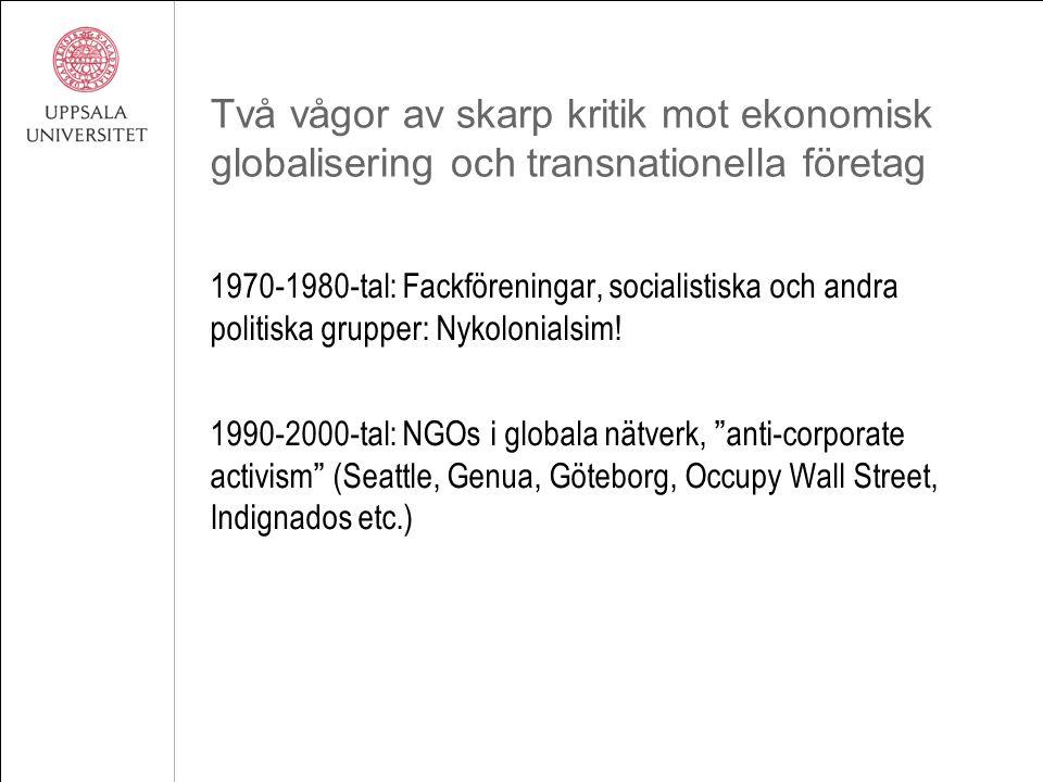 Två vågor av skarp kritik mot ekonomisk globalisering och transnationella företag 1970-1980-tal: Fackföreningar, socialistiska och andra politiska grupper: Nykolonialsim.