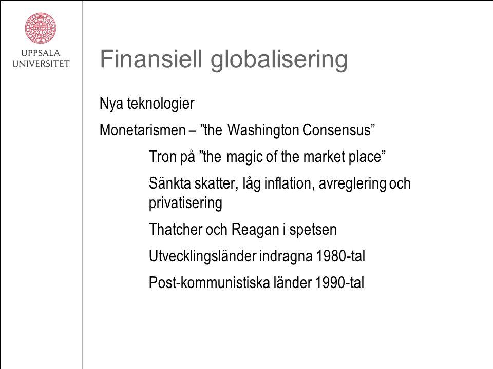 Finansiell globalisering Nya teknologier Monetarismen – the Washington Consensus Tron på the magic of the market place Sänkta skatter, låg inflation, avreglering och privatisering Thatcher och Reagan i spetsen Utvecklingsländer indragna 1980-tal Post-kommunistiska länder 1990-tal