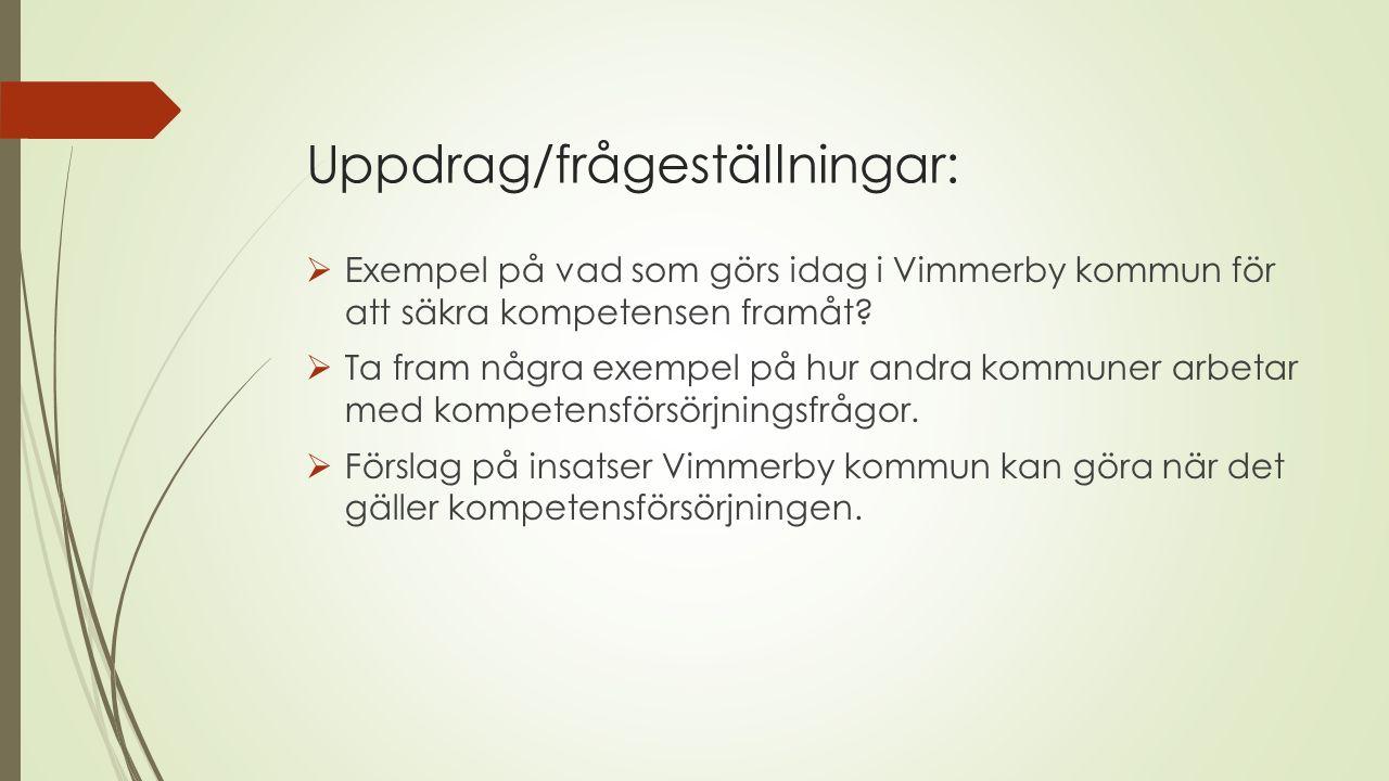 Uppdrag/frågeställningar:  Exempel på vad som görs idag i Vimmerby kommun för att säkra kompetensen framåt.