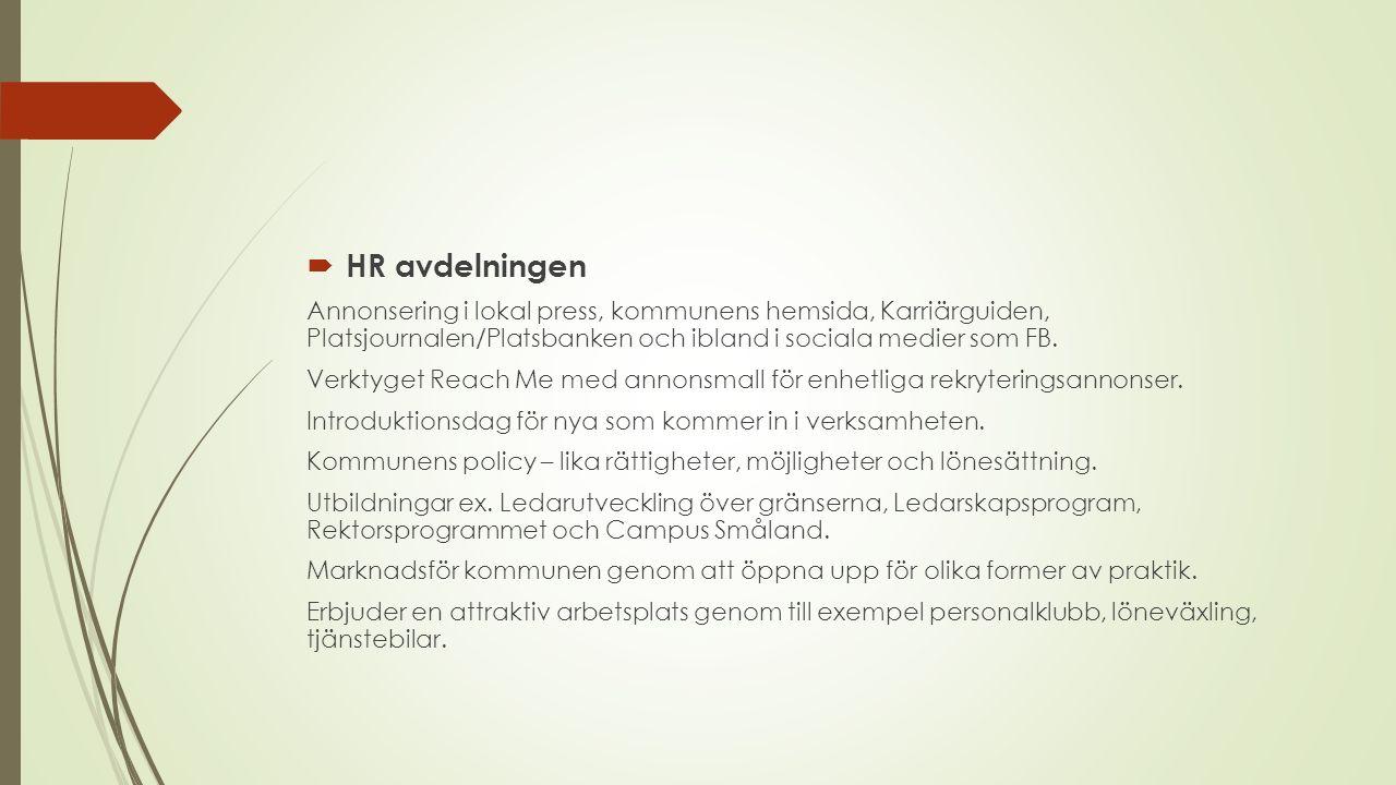  HR avdelningen Annonsering i lokal press, kommunens hemsida, Karriärguiden, Platsjournalen/Platsbanken och ibland i sociala medier som FB.