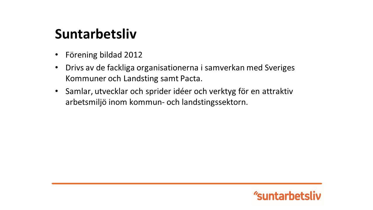 Suntarbetsliv Förening bildad 2012 Drivs av de fackliga organisationerna i samverkan med Sveriges Kommuner och Landsting samt Pacta.