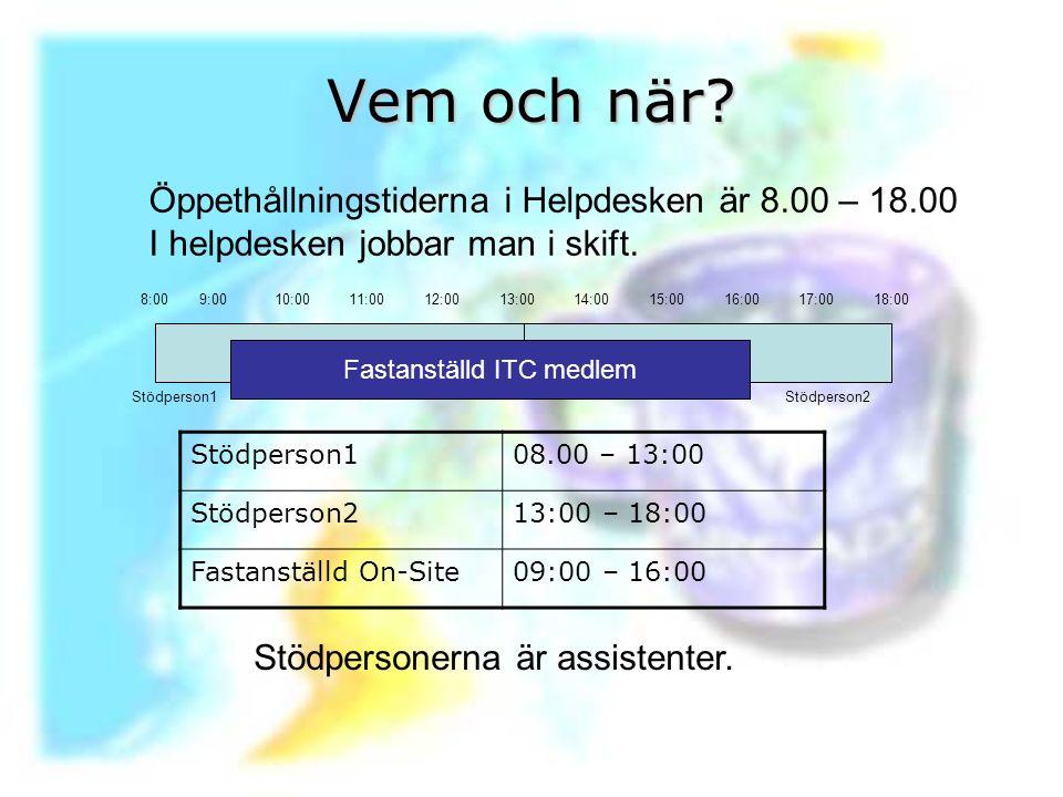 Vem och när? Öppethållningstiderna i Helpdesken är 8.00 – 18.00 I helpdesken jobbar man i skift. Stödperson108.00 – 13:00 Stödperson213:00 – 18:00 Fas