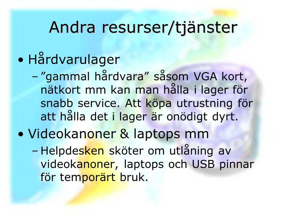 """Andra resurser/tjänster Hårdvarulager –""""gammal hårdvara"""" såsom VGA kort, nätkort mm kan man hålla i lager för snabb service. Att köpa utrustning för a"""