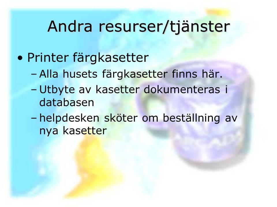 Andra resurser/tjänster Printer färgkasetter –Alla husets färgkasetter finns här. –Utbyte av kasetter dokumenteras i databasen –helpdesken sköter om b