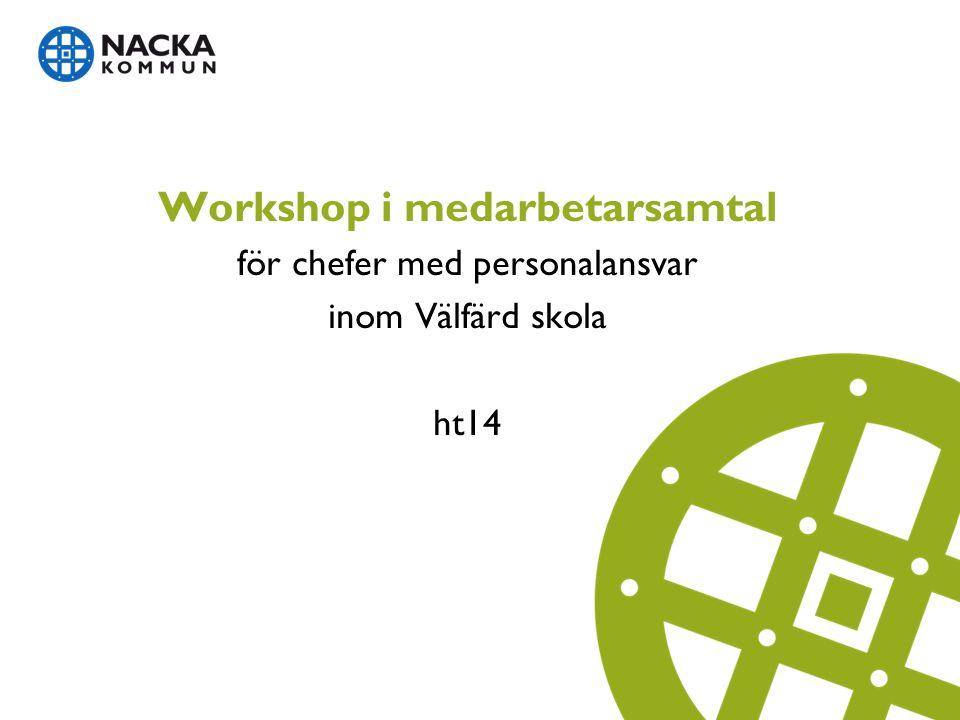 Workshopens innehåll  Syftet med dagens workshop  Varför har vi medarbetarsamtal och vad ingår.