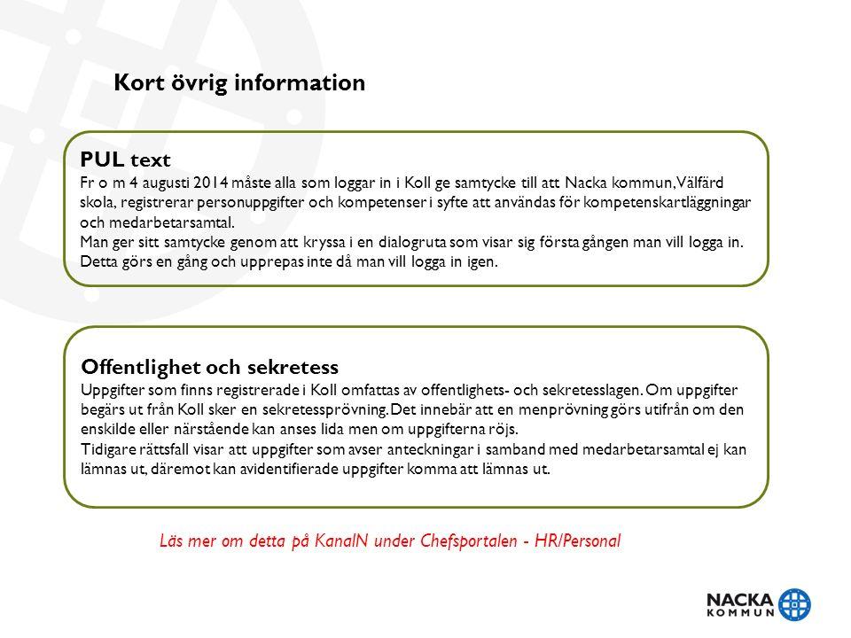 Kort övrig information PUL text Fr o m 4 augusti 2014 måste alla som loggar in i Koll ge samtycke till att Nacka kommun, Välfärd skola, registrerar personuppgifter och kompetenser i syfte att användas för kompetenskartläggningar och medarbetarsamtal.