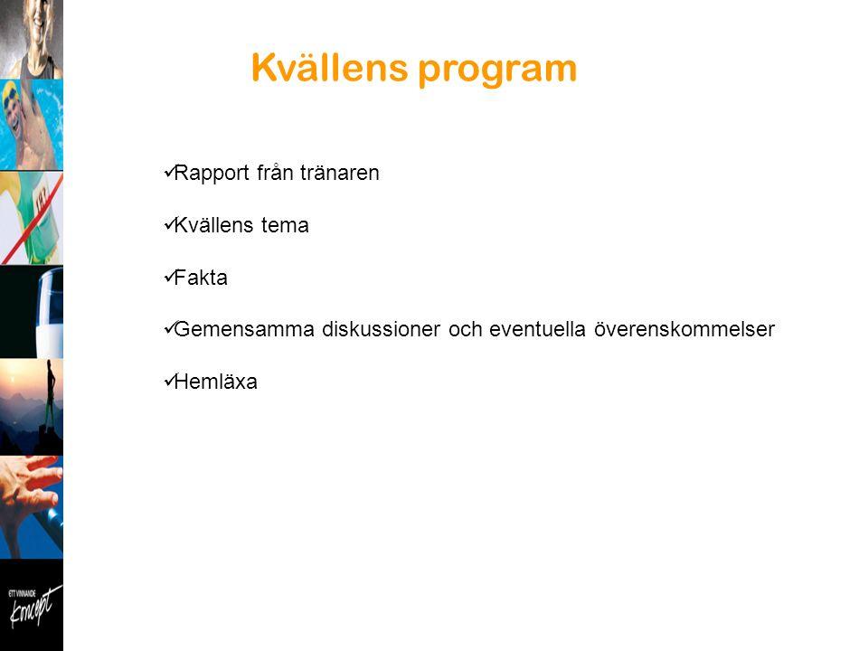 Kvällens program Rapport från tränaren Kvällens tema Fakta Gemensamma diskussioner och eventuella överenskommelser Hemläxa