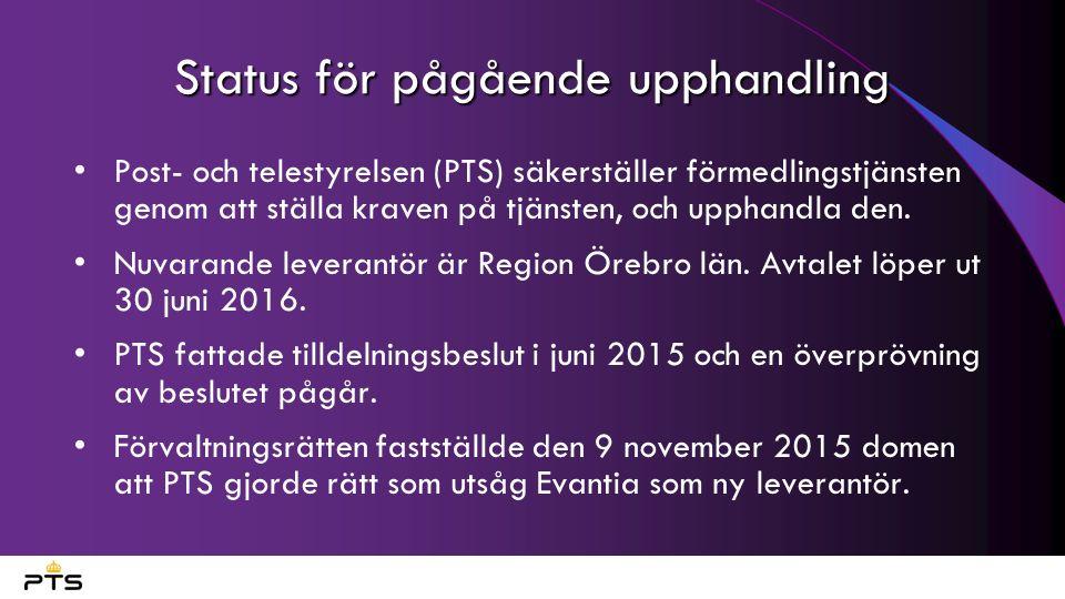 Status för pågående upphandling Post- och telestyrelsen (PTS) säkerställer förmedlingstjänsten genom att ställa kraven på tjänsten, och upphandla den.