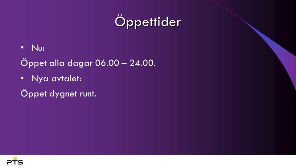 Öppettider Nu: Öppet alla dagar 06.00 – 24.00. Nya avtalet: Öppet dygnet runt.