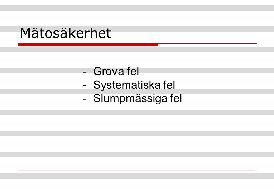 Mätosäkerhet -Grova fel -Systematiska fel -Slumpmässiga fel