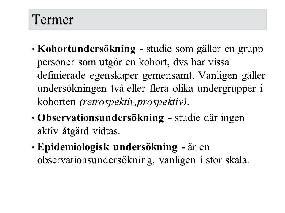 Termer Kohortundersökning - studie som gäller en grupp personer som utgör en kohort, dvs har vissa definierade egenskaper gemensamt. Vanligen gäller u
