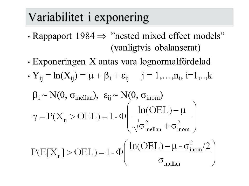 """Variabilitet i exponering Rappaport 1984  """"nested mixed effect models"""" (vanligtvis obalanserat) Exponeringen X antas vara lognormalfördelad Y ij = ln"""