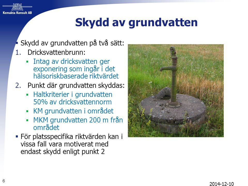 6 Skydd av grundvatten  Skydd av grundvatten på två sätt: 1.Dricksvattenbrunn:  Intag av dricksvatten ger exponering som ingår i det hälsoriskbasera