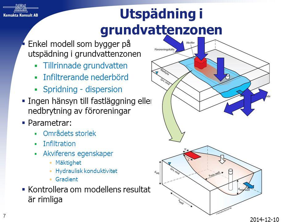 Exempel grundvatten  Det förorenade området har en längd på 400 m och en bredd på 100 m  Infiltrationen i området är i dagsläget 100 mm/år  Grundvatten ligger på ett djup av 2 meter  Gradienten är 1%  Den hydrauliska konduktiviten 5.