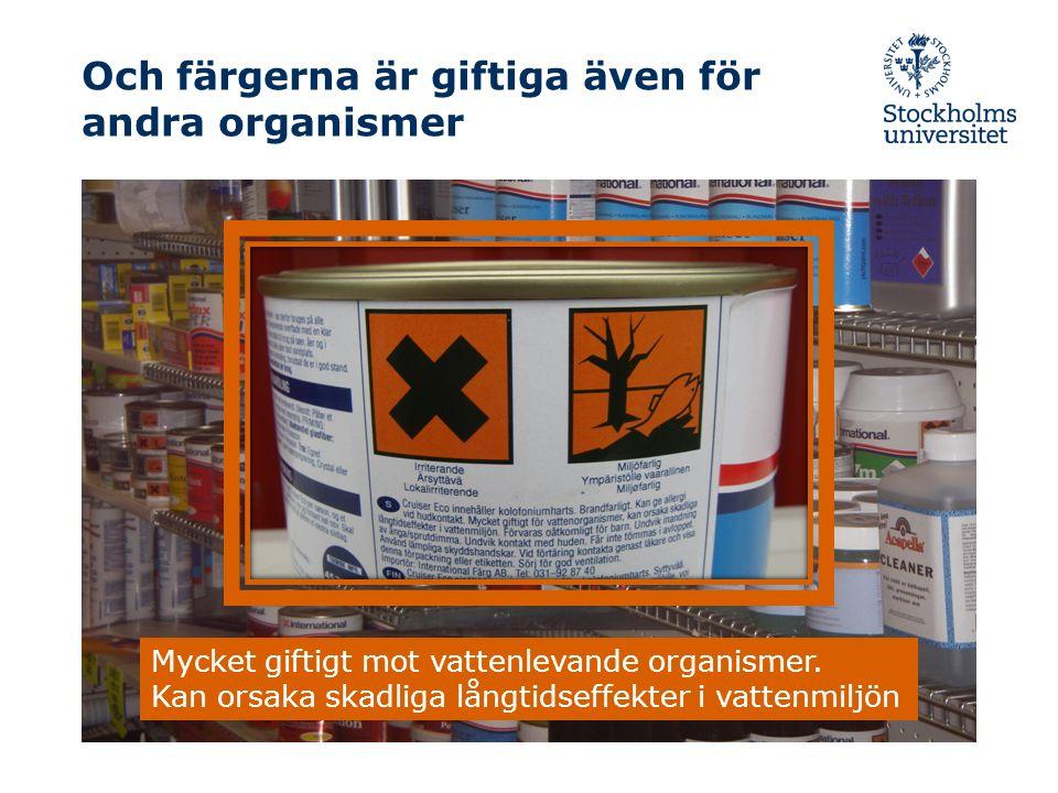 Och färgerna är giftiga även för andra organismer Mycket giftigt mot vattenlevande organismer.
