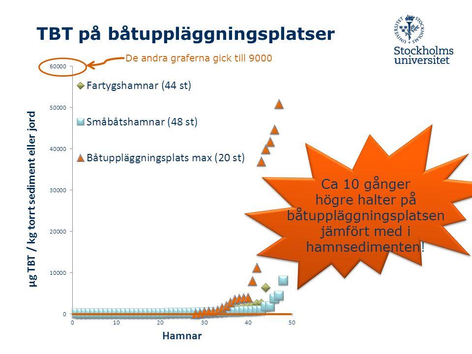 TBT på båtuppläggningsplatser De andra graferna gick till 9000 Ca 10 gånger högre halter på båtuppläggningsplatsen jämfört med i hamnsedimenten!