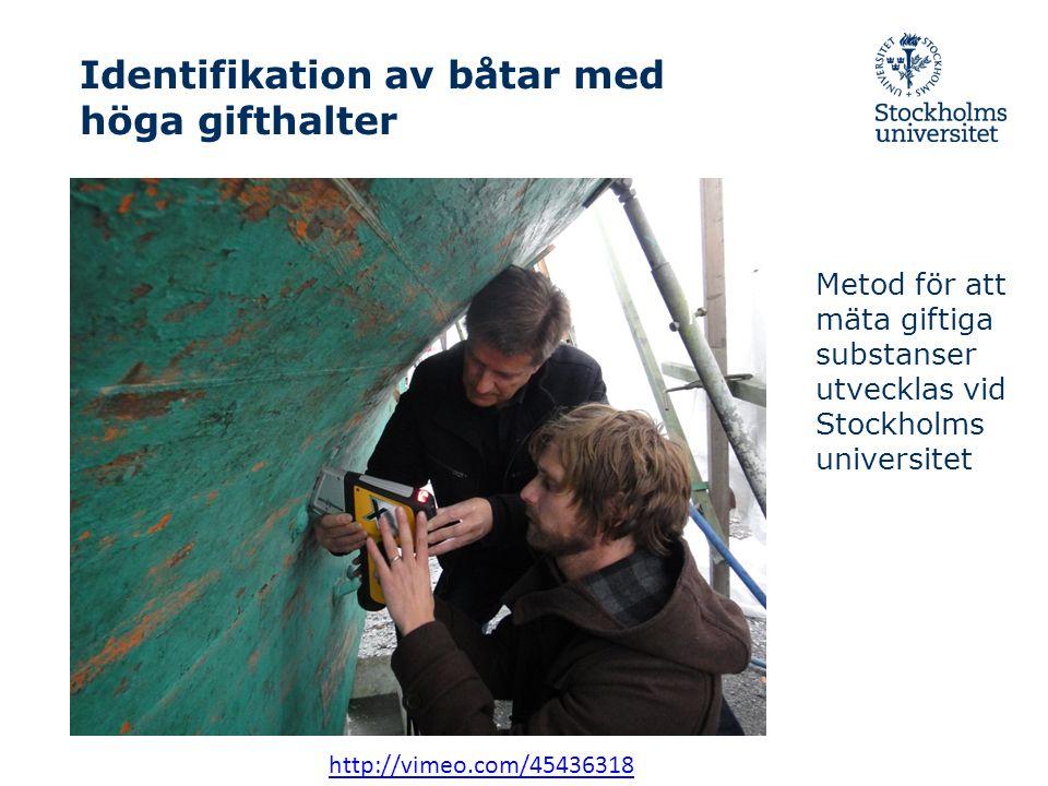 Identifikation av båtar med höga gifthalter Metod för att mäta giftiga substanser utvecklas vid Stockholms universitet http://vimeo.com/45436318