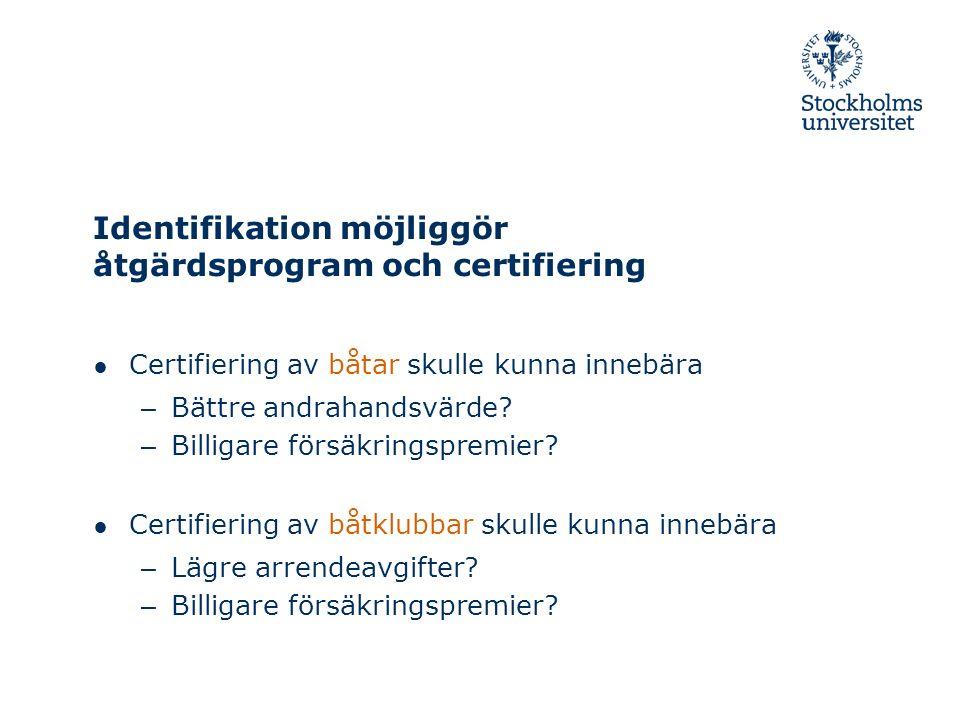 ● Certifiering av båtar skulle kunna innebära – Bättre andrahandsvärde.